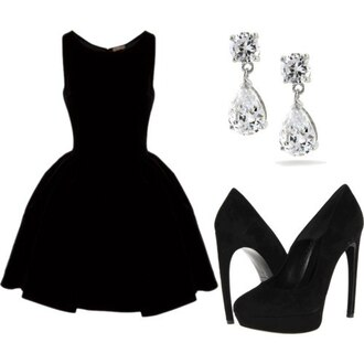 dress black dress short dress stylish little black dress shoes high-heels earings black formal formal dress sleeveless sleeveless dress