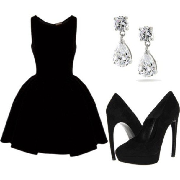 764214b15190 dress black dress short dress stylish little black dress shoes high-heels  earings black formal