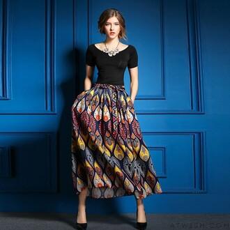 dress suits skirt print leisure t-shirt black