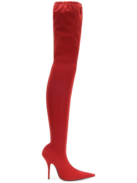 Balenciaga women spandex leather red shoes
