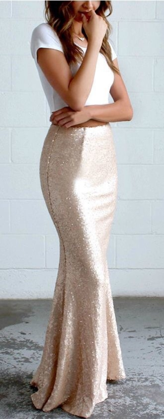 skirt gold sequins sequin dress maxi maxi skirt classy party dress party sparkle fashion trendy cute pretty sexy girly hot