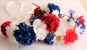 hair accessory,flower crown,flowers,floral,flower headpiece,flower headband,july 4th,july 4th jewelry,independence day,red white and blue,red white and blue flower crown