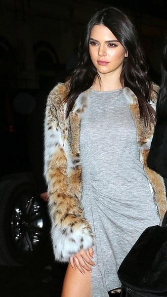 coat kendall jenner fur coat brown tan white faux fur jacket