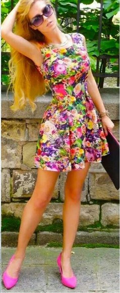 summer dress floraldress colorful floral dress fitted