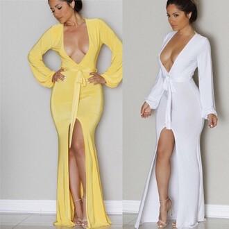 dress kadore long dress formal dress evening dress fashion inspiration cute outfits tumblr pinterest white maxi dress long sleeve dress yellow dress yellow maxi dress