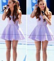 dress,ariana grande,lavender,cute dress,cute,skater dress,pretty,lavender dress,prom dress,short party dresses,skater skirt,purple dress,2k14,summer dress,summer