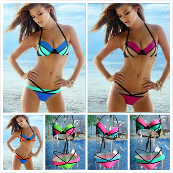 Aliexpress.com : buy new sexy multi color patchwork bandage push up triangle bandage brand halter bikini swimsuit bathing suit for women from reliable suit steamer suppliers on igoodbuy