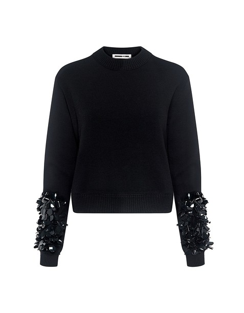 sweater cropped sweater cropped beaded black