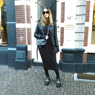 moderosa blogger knitted dress leather dress shoes dress jacket bag maxi knit dress