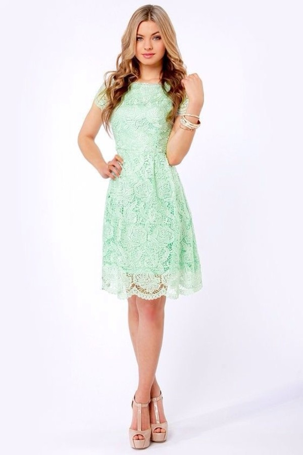 dress mint bridesmaid dress lace mint green dress
