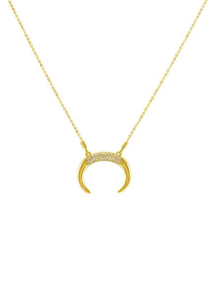 Nadine Crescent Horn Crystal Necklace