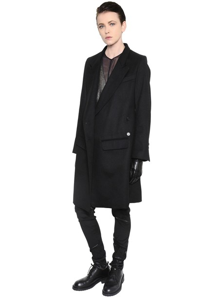 coat double breasted wool black