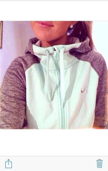 nike grey hoodie sweater teal zipper nike air nike sweater nike pro