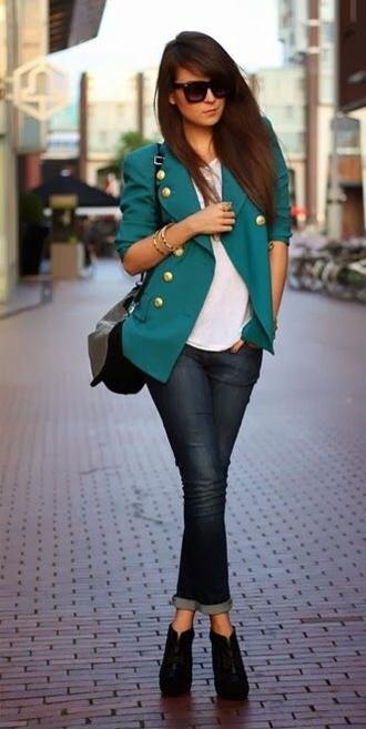 jacket blue jacket jeans sunglasses