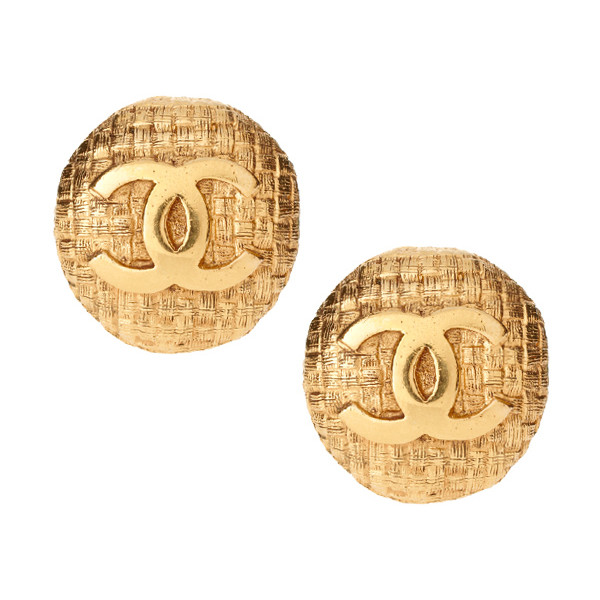 Vintage Chanel Gold Plated Basket Weave With Interlocking CC... - Polyvore