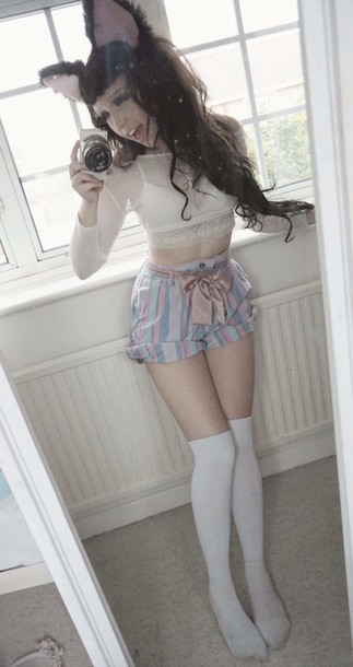 shorts mini shorts striped shorts pastel
