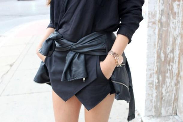 shorts skirt all black everything punk pretty fashion style girl grunge leather jacket black skirt jacket