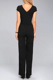 jumpsuit,black,back zipper