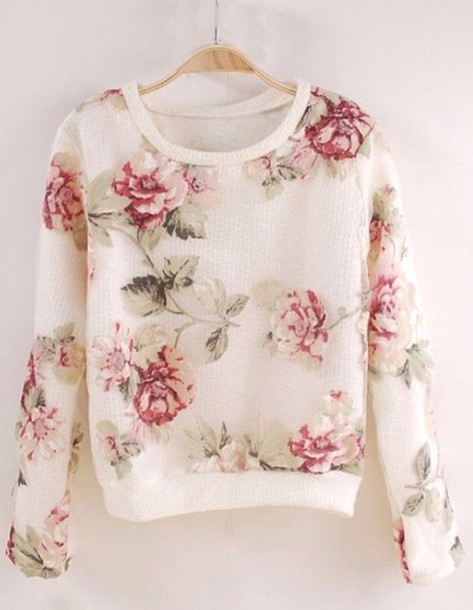 Sweater: clothes, shirt, long sleeves, long, sleeve, roses, floral ...