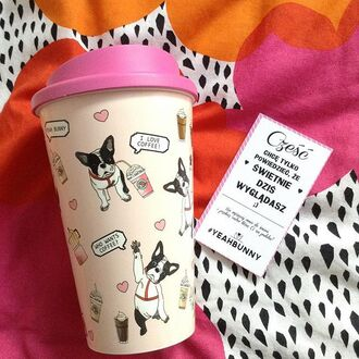 home accessory yeah bunny tumbler coffee frenchie pink cute dog dog print