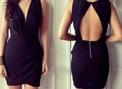 dress,black,open back,v neck