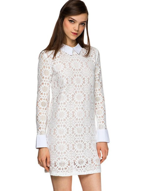Girl with Long Sleeves White Lace Dresses