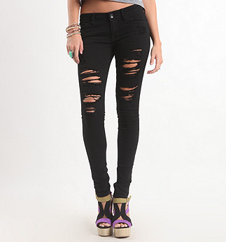 Black Dark Super Destroyed Skinny Jeans - PacSun.com