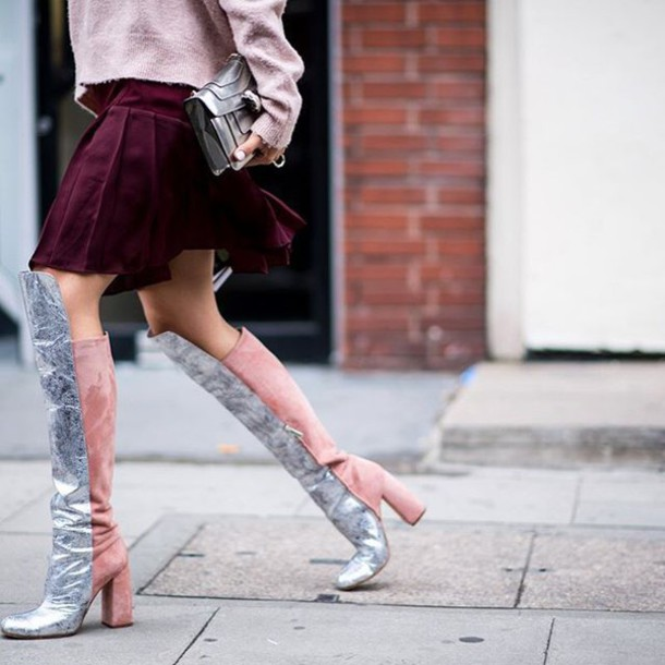 986744e057b shoes tumblr silver silver shoes over the knee boots over the knee thick  heel block heels