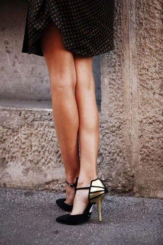 shoes heels gold black