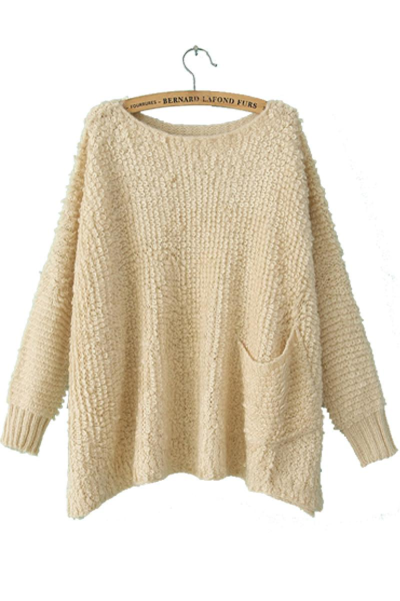 Western Fashion Hook Loop Hair Big Pocket Loose Pullover Sweater,Cheap in Wendybox.com