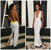 gown,backless dress,backless,kerry washington,oscars 2016,plunge v neck,plunge dress,sexy dress,prom dress,shoes