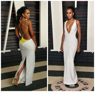 gown backless dress backless kerry washington oscars 2016 plunge v neck plunge dress sexy dress prom dress shoes