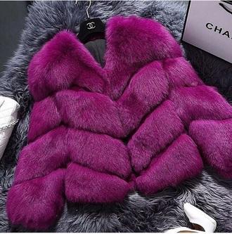 jacket fushia purple pink fur coat fur faux fur winter outfits winter coat
