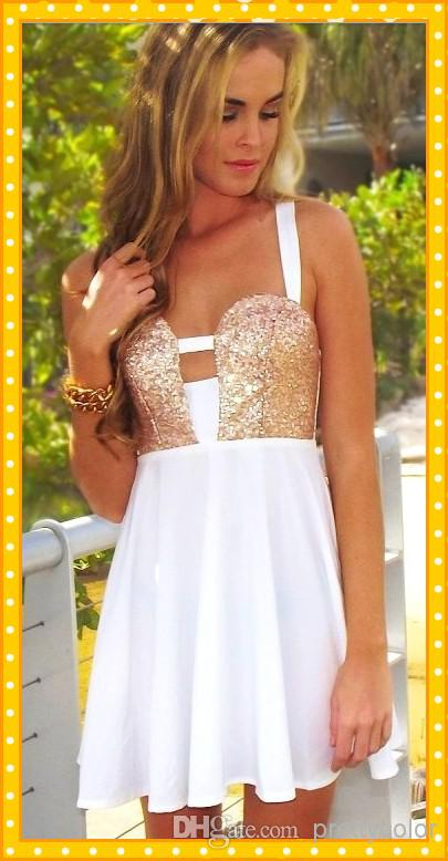 Cheap Homecoming Dresses - Discount Gold Sequins Homecoming Dresses White Chiffon Short Straps Online with $83.77/Piece | DHgate