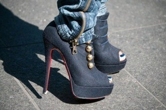 shoes black high heels gold buttons red back prep