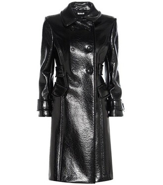 coat leather black