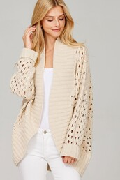 cardigan,oatmeal,cream,crochet knit,ribbed,open cardigan