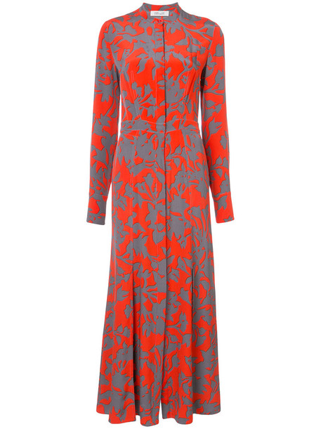 Dvf Diane Von Furstenberg shirtdress maxi long women silk red dress