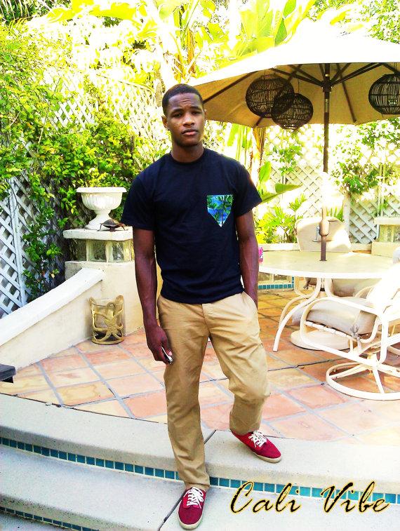 Men's tshirt / palm tree print pocket by calivibe on etsy