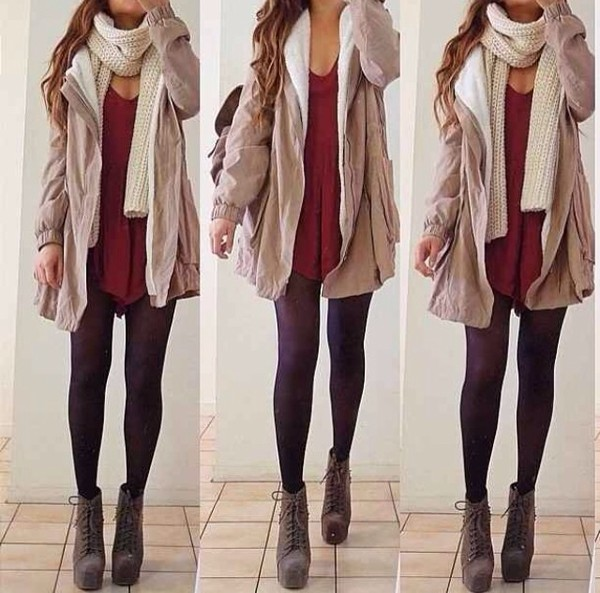 shoes heels coat scarf shirt dress jacket