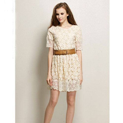 Free shipping, 2014 new arrival, women's o-neck,short sleeve dress,hollow out, lace dress,WD959 | Amazing Shoes UK