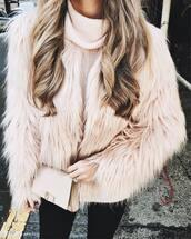 jacket,tumblr,fur jacket,pink jacket,sweater,pink sweater,turtleneck,turtleneck sweater,bag,nude bag,ombre hair,long hair