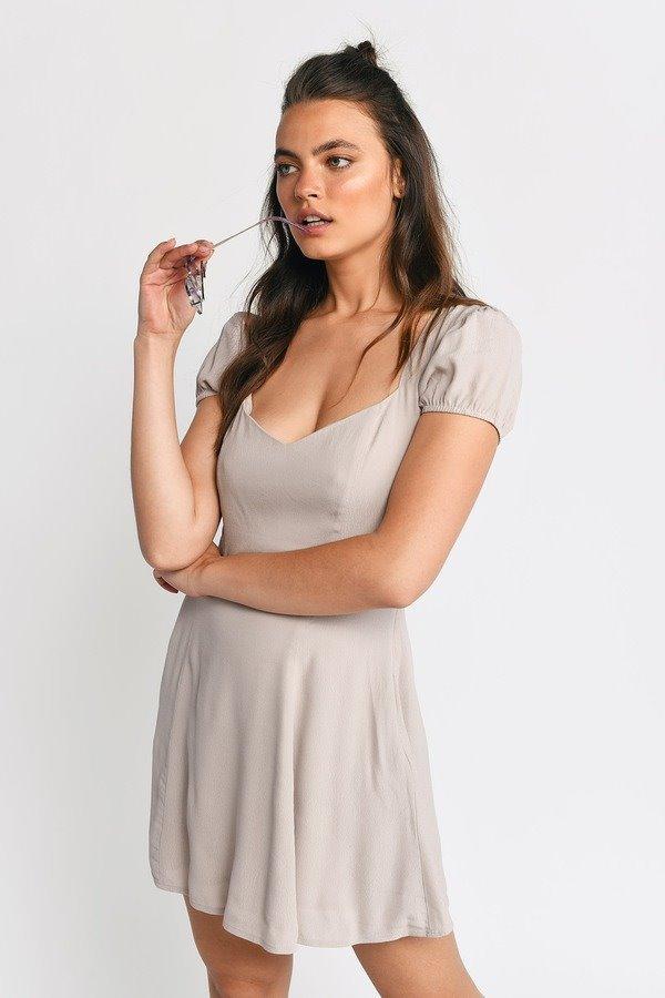 Jaycie Taupe Cap Sleeve Skater Dress