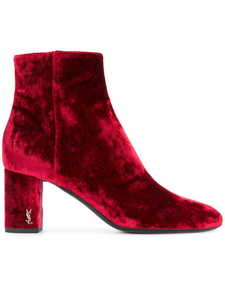 Saint Laurent women ankle boots leather velvet red shoes