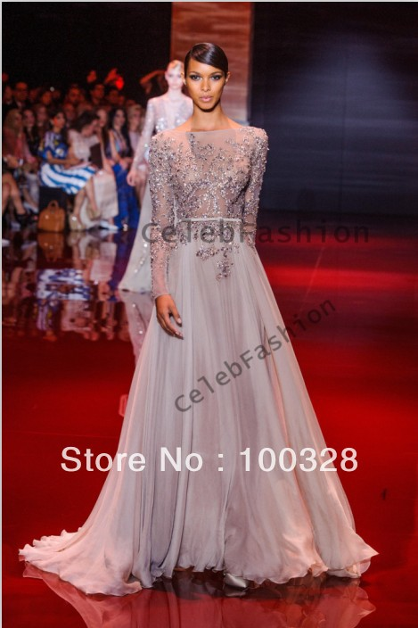 Aliexpress.com : buy amazing chaming long sleeve open back prom dress long with lace crystal 2014 court train custom made free shipping from reliable prom dresses co suppliers on rose wedding dress co., ltd