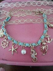 jewels,the glitzy hen,nautical bracelet,sea shell bracelet,charm bracelet,seahorse bracelet,anchor bracelet,starfish bracelet,gold bracelet