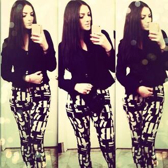 blouse black and white blouse leggings jacket