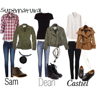 supernatural outfit cute grunge alternative shoes boots jeans style tights accessories necklace blouse flannel shirt flannel coat jacket