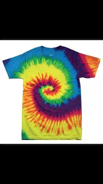 shirt tie dye hippie top rainbow colour colorful