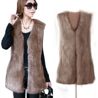 coat faux fur v-collar waistcoat warm coat camel outwear